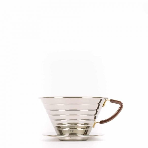 The Kalita 185 Wave Drip Coffee Brewer in Stainless Steel.