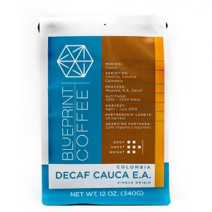 Decaf Cauca EA Single Origin Coffee from Colombia. Roasted by Blueprint Coffee.