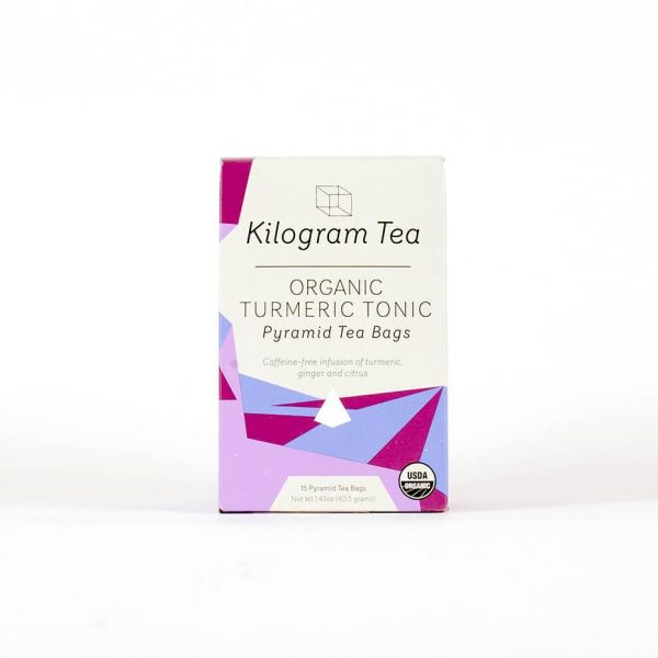 Kilogram Turmeric Tonic Tea - 15 count pyramid tea bags.