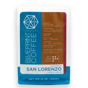 A bag of San Lorenzo coffee from Guatemala. It is roasted by Blueprint Coffee and contains 12 ounces of coffee beans.