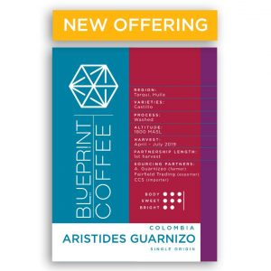 Aristides Guarnizo, Colombia single origin coffee from Blueprint Coffee.
