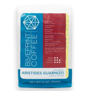 A 12-ounce bag of Aristides Guarnizo, Colombia whole bean coffee roasted by Blueprint Coffee.