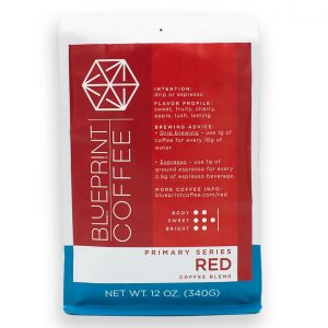 Primary Series: Red - a coffee blend from Blueprint Coffee featuring sweet, fruity notes.