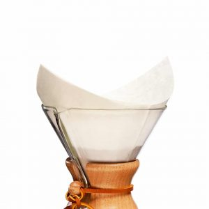 Pre-folded filter papers in a pack of 100 that fit the 6-cup to 10-cup Chemex Coffeemaker.