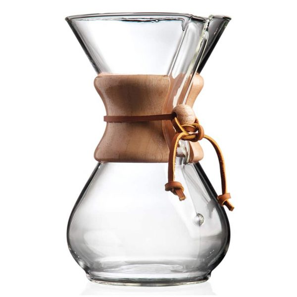 The Chemex 6-cup coffeemaker is an iconic and beautiful pour-over style brewer and carafe.