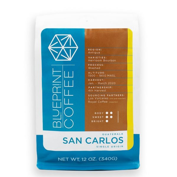 San Carlos, Guatemala is a single origin coffee from Antigua roasted by Blueprint Coffee.