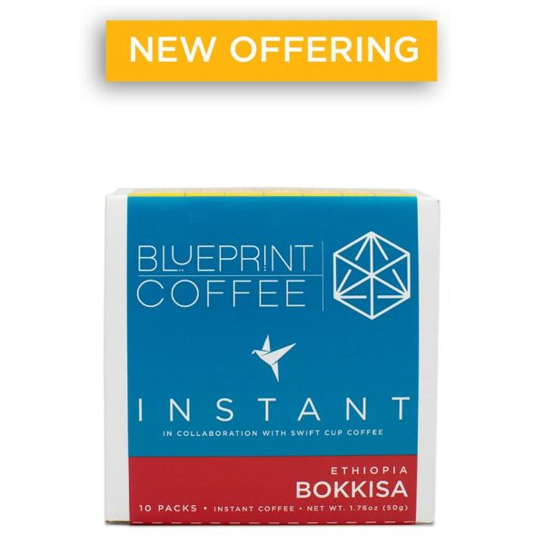 Bokkisa specialty instant coffee from Blueprint Coffee comes in packs of 10, 25, or 30. Or, you can get a bulk jar with enough for 20 servings.