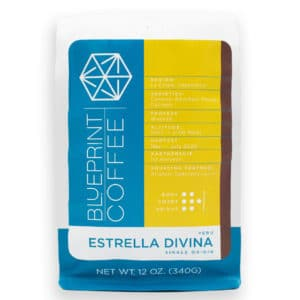 Estrella Divina coffee sourced from Peru and roasted by Blueprint Coffee available in 12oz or 2 pound bags.